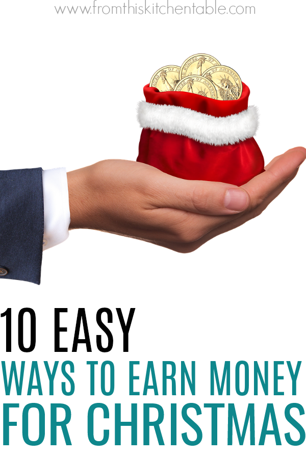 Santa bag filled with cold coins. If you could use some extra cash for presents and parties this Christmas, check out these easy ways to earn extra money for Christmas! Enjoy not stressing about where the money is going to come from.
