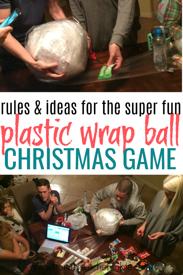 This Saran wrap ball game is SO much fun! Here's how to play, ways to wrap the ball, and ideas for what to put inside. This is perfect for your family Christmas or with friends. Do a plastic wrap ball for the adults and one for the kids and have a blast.