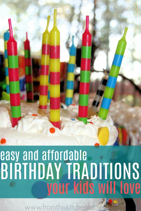 Birthday cake with colorful candles as part of birthday traditions your kids will love.