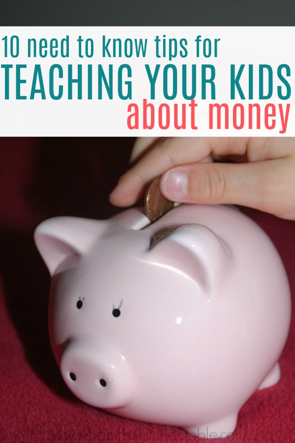 child putting money in a piggy bank and teaching kids about money