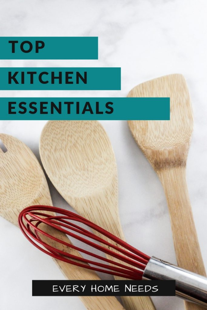 wooden spoons and a whisk with words top kitchen essentials