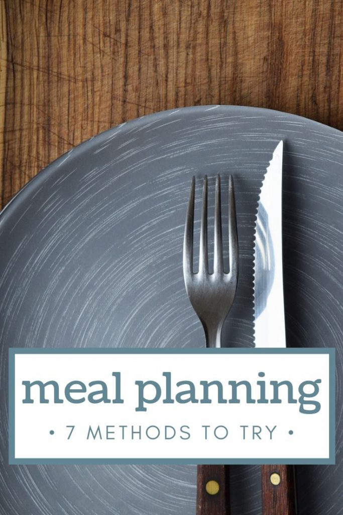 blue dinner plate with fork and knife and an overlay saying ways to meal plan