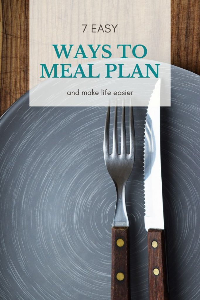 brown handled fork and knife on a blue plate with words way to meal plan