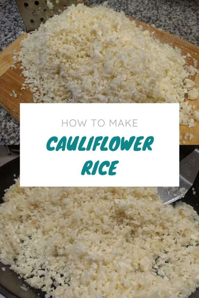 cauliflower rice on a cutting board and in a skillet