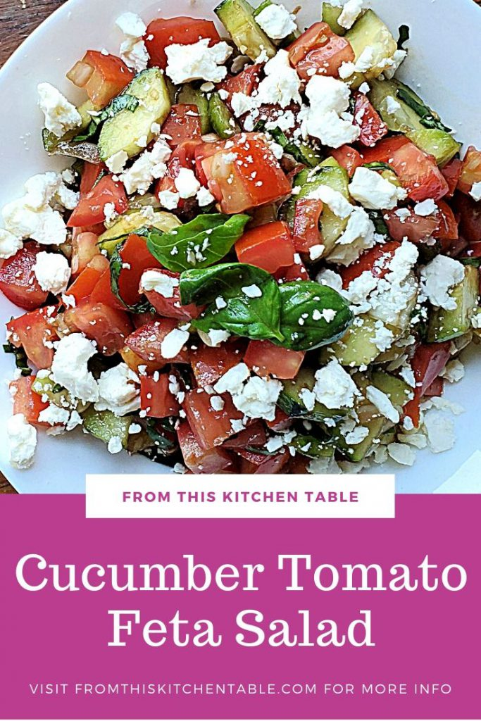 cucumber tomato salad with feta with a pink text box