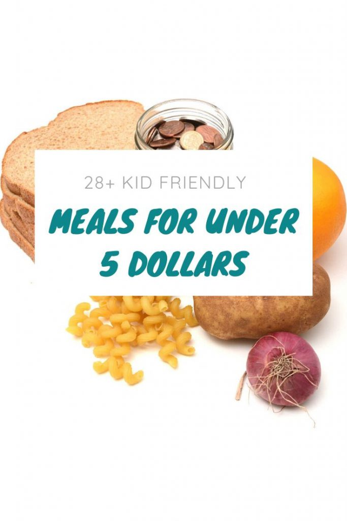 bread, pasta, potato, orange, and jar of change on counter partially covered by a graphic that says meals under $5