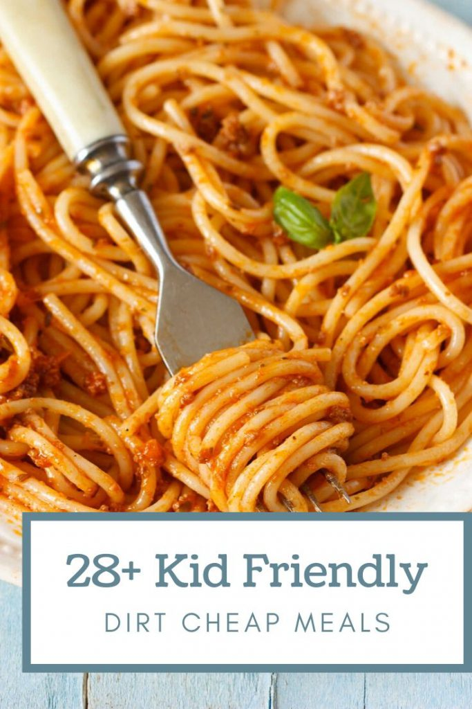 plate of spaghetti and graphic with kid friendly meals under $5