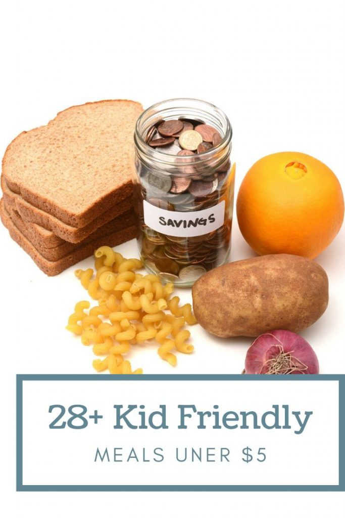 random ingredients and a jar of change on a counter with graphics about kid friendly meals under $5