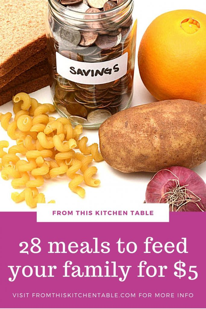 bread, potato, orange, pasta and a jar of change on counter with graphic of meals under $5