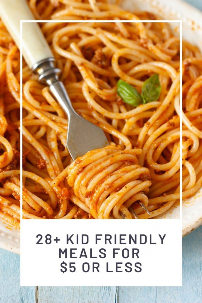 plate of spaghetti with fork and graphic for meals under $5