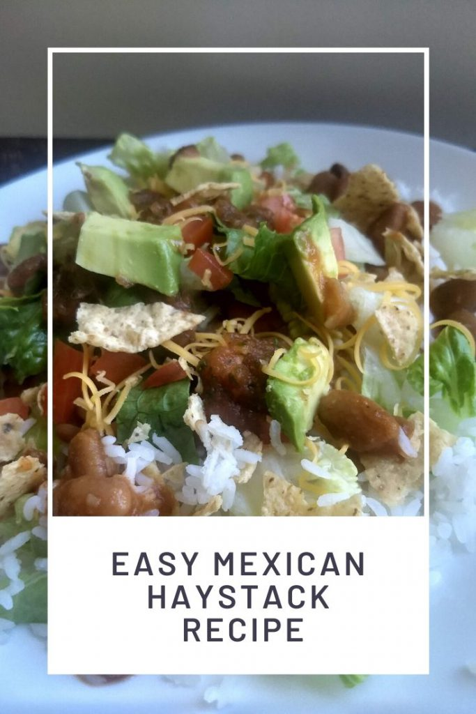 Mexican Haystacks on a plate with a white text box and words