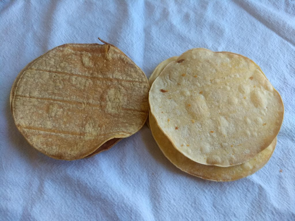 Baked tostadas on a napkin