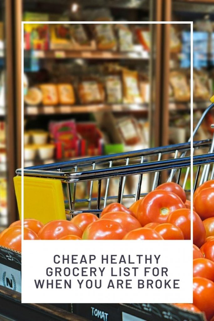 empty grocery cart and a shelf with tomatoes