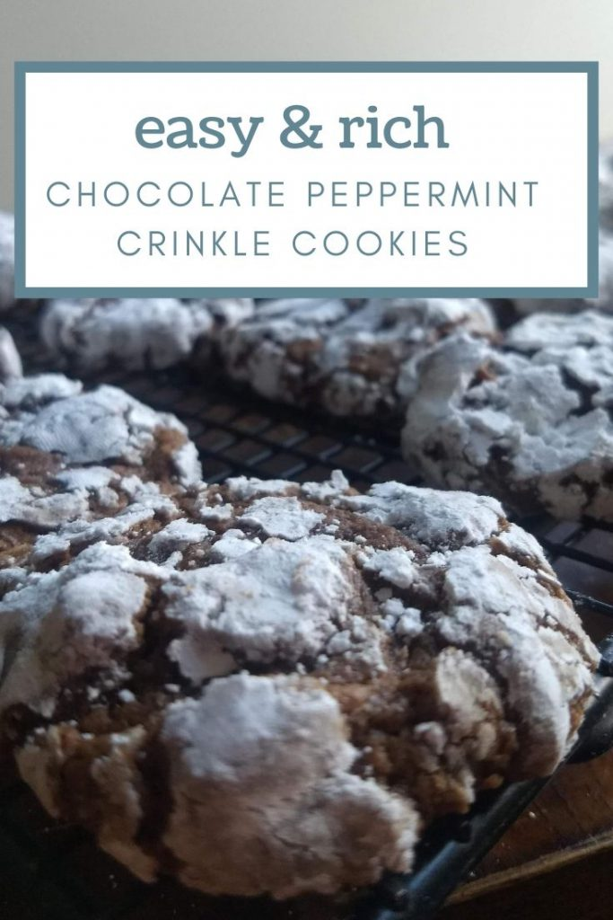 chocolate peppermint crinkle cookies on cooling rack