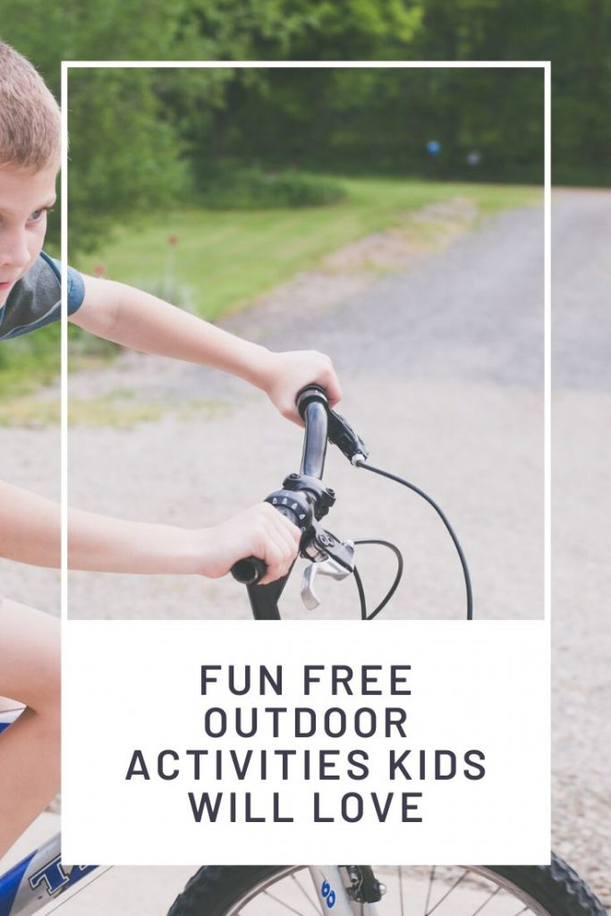 boy on bike and graphic with words free outdoor activities for kids