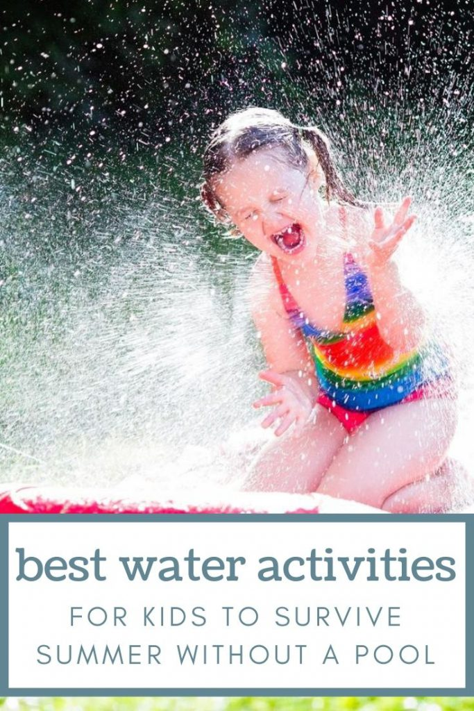 Girl getting sprayed with water on a slip and slide with graphic water activities for kids