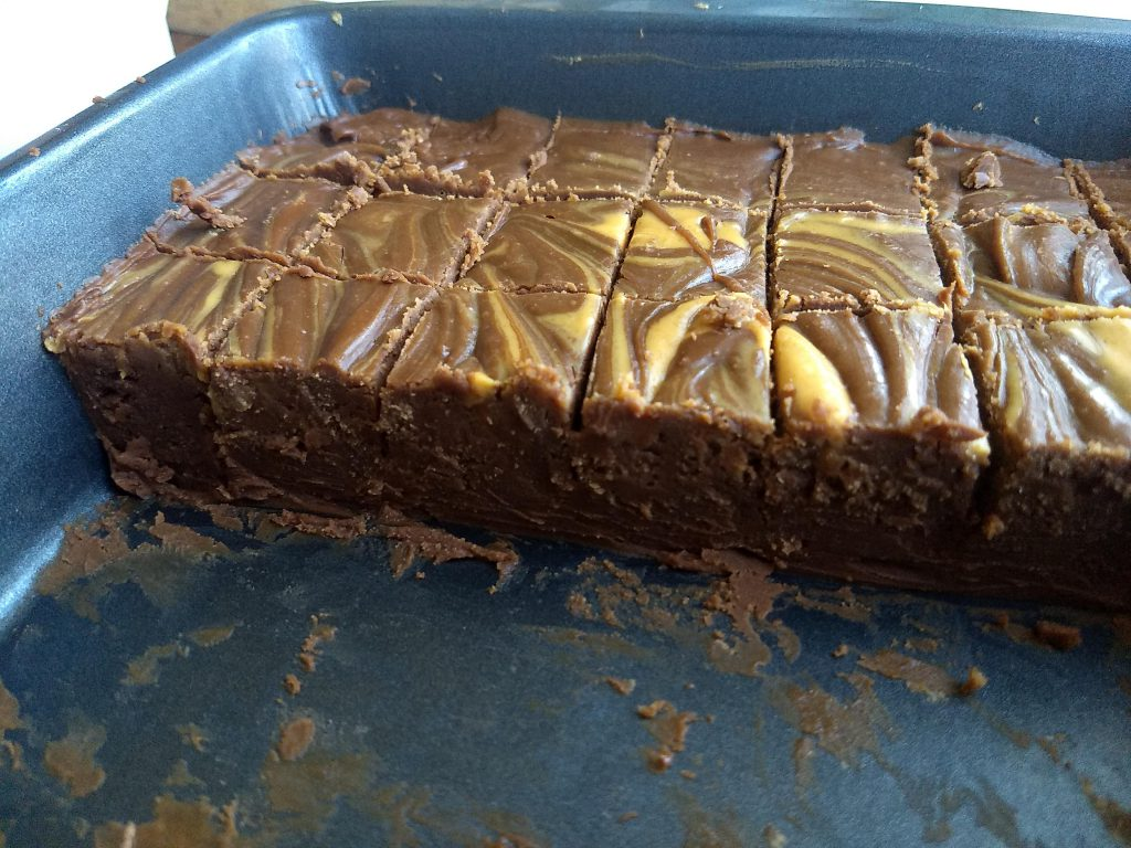 Cooled and cut chocolate peanut butter fudge