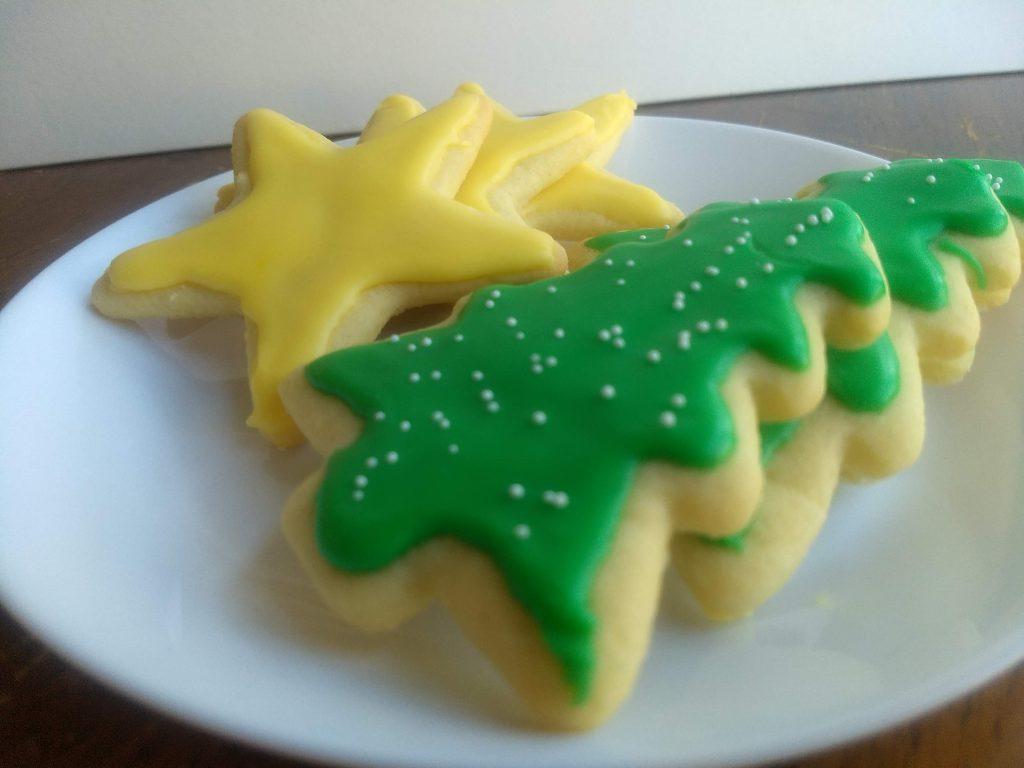 christmas sugar cookies on a plate