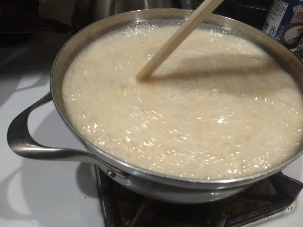 Sugar and milk boiling for the fudge