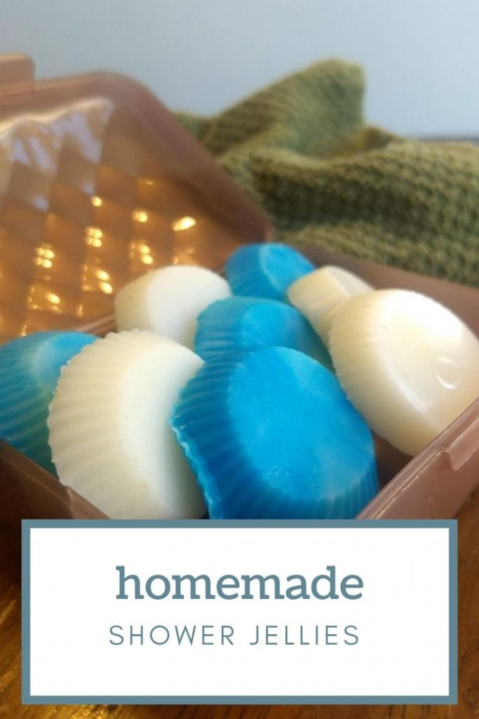 Homemade white and blue shower Jellies in a soap box
