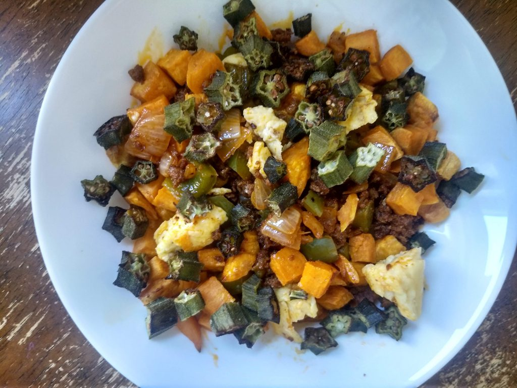 sweet potato chorizo hash with okra