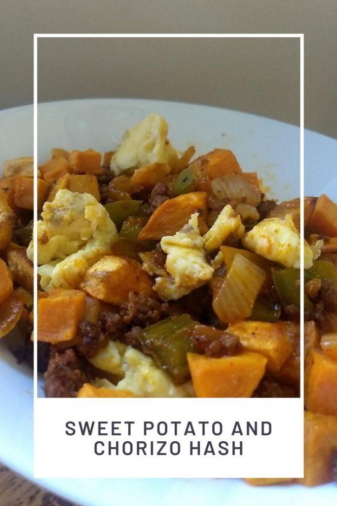sweet potato chorizo hash in a white bowl