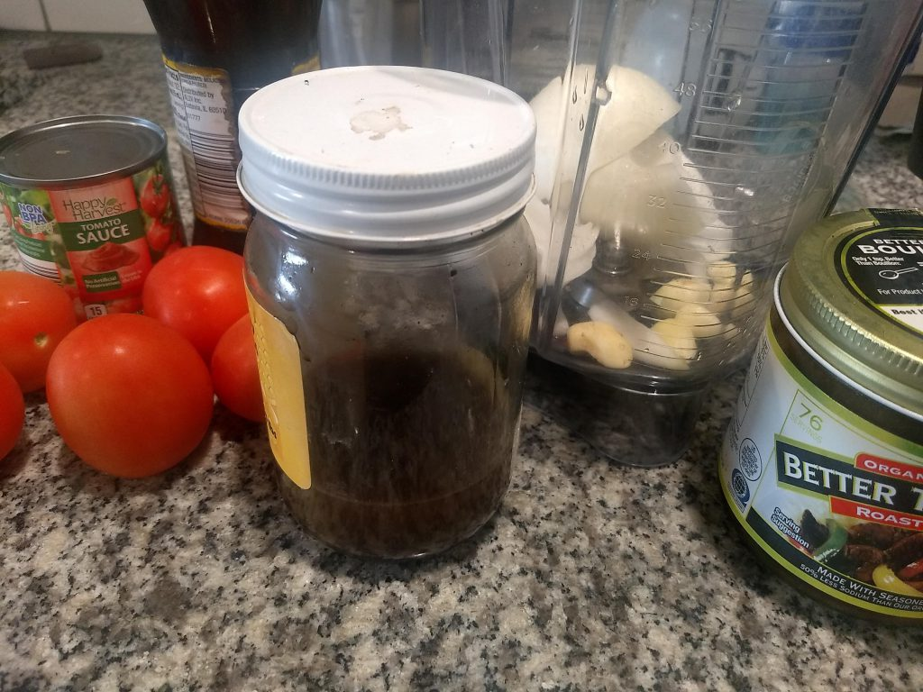ingredients to puree for the ranch style beans sauce