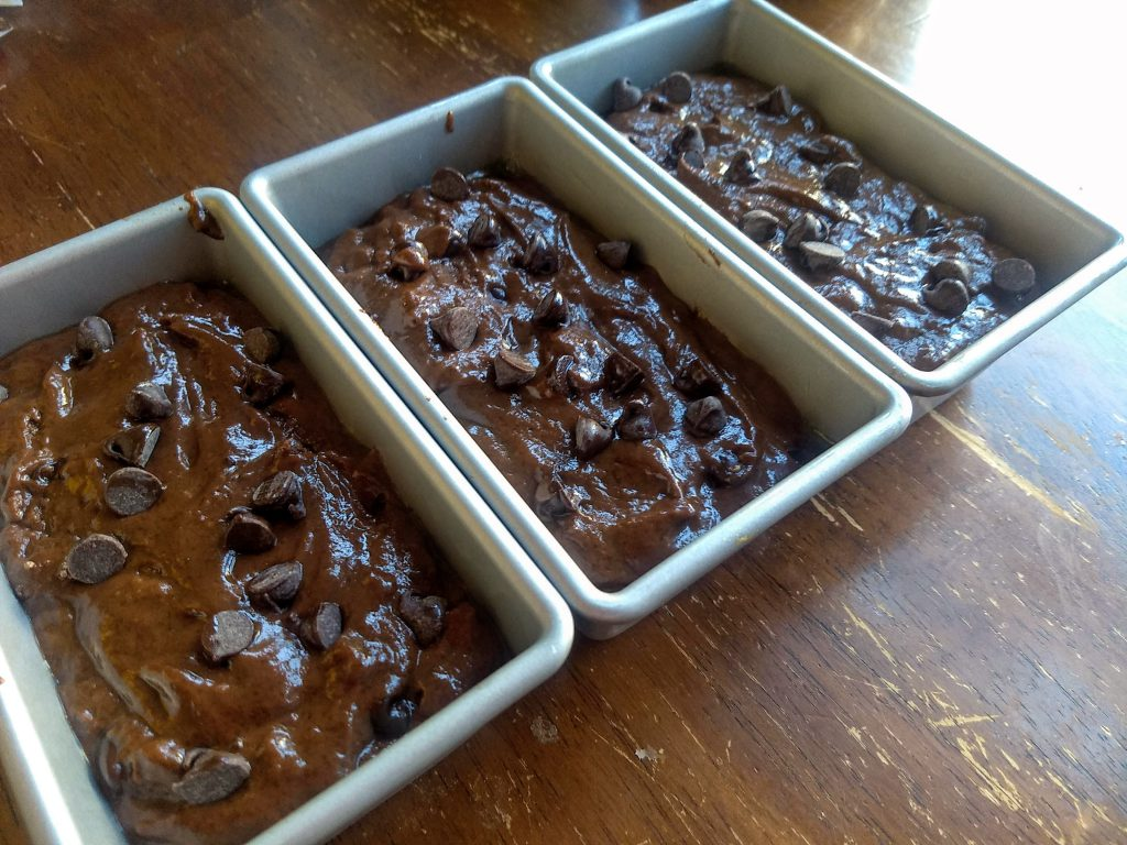 double chocolate quick bread batter in pans