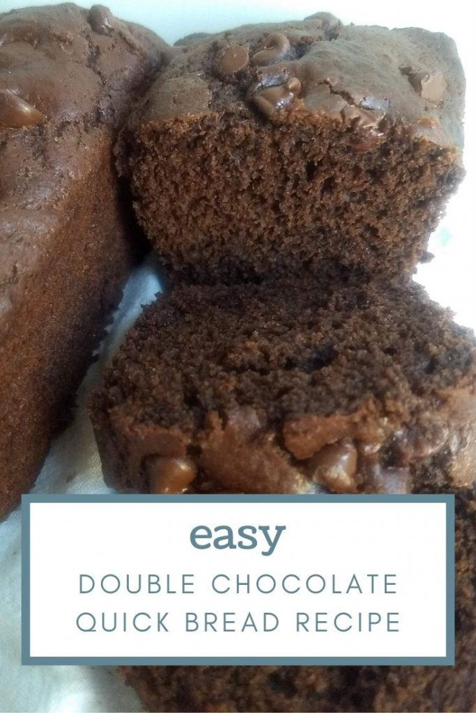 sliced loaf of double chocolate quick bread