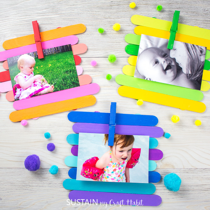 popsicle stick picture frames with pictures