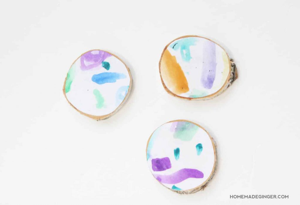 Hand painted wood slice coasters
