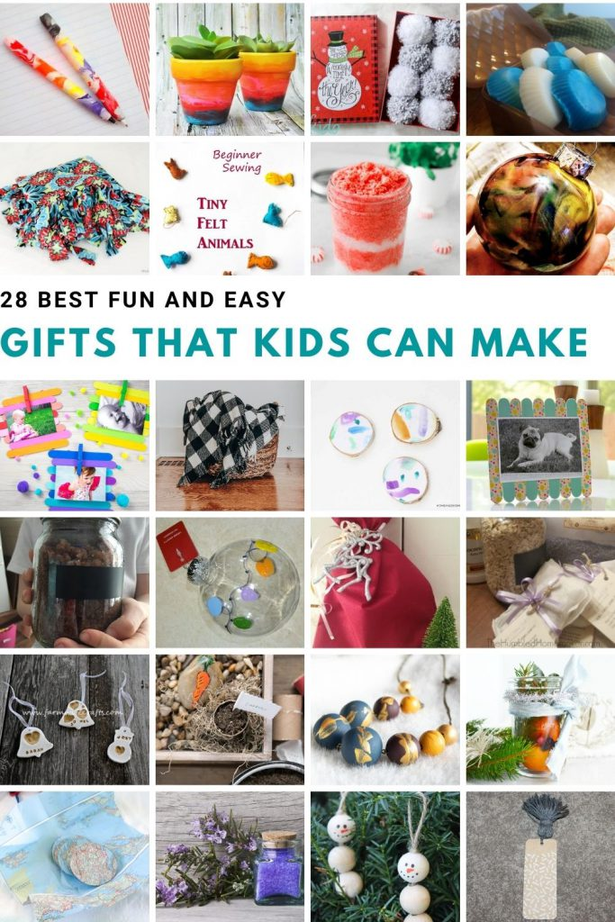a collage of pictures of different gifts kids can make