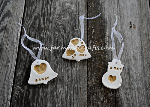 easy white clay thumbprint ornaments