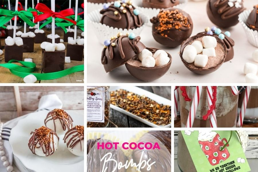 Hot cocoa bombs and wassail for food gifts
