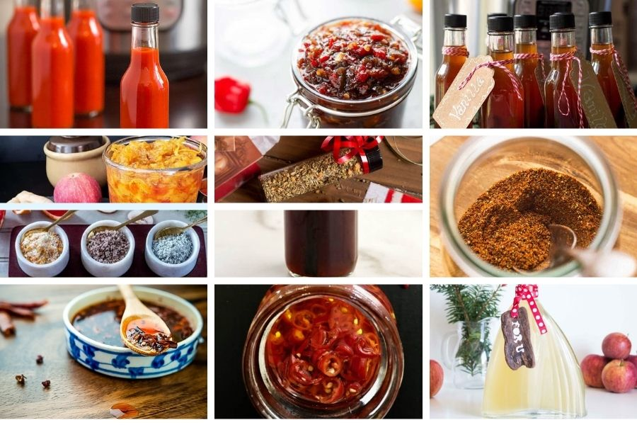 Collage of the best food gifts that are spices and seasonings