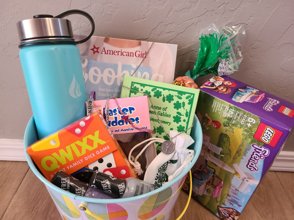 An easter basket loaded with goodies for a tween girl