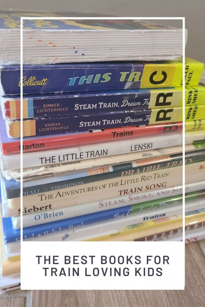 graphic with a pile of kids' books about trains