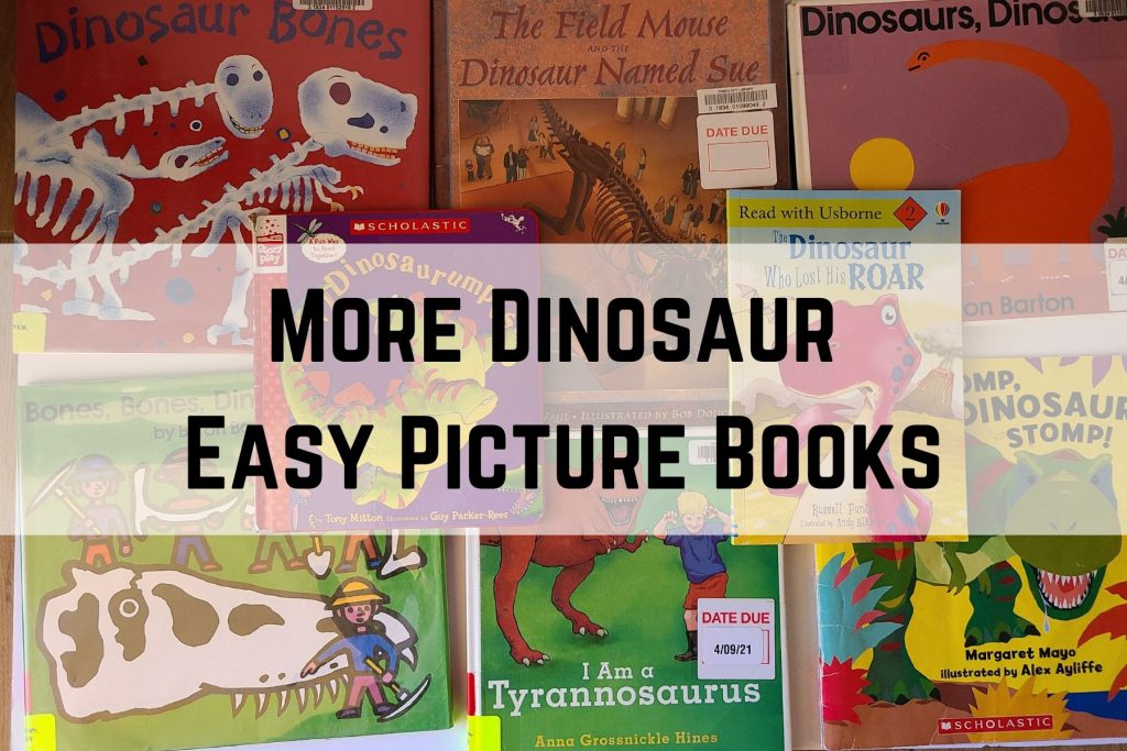 A stack of dinosaur easy picture books