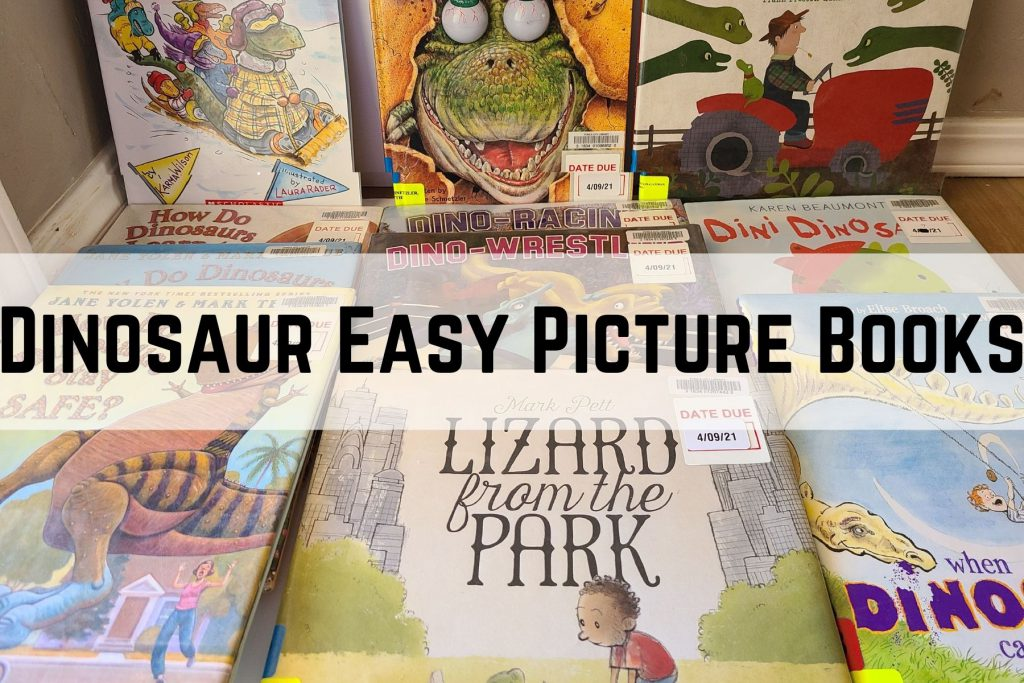 a pile of dinosaur easy pictures books