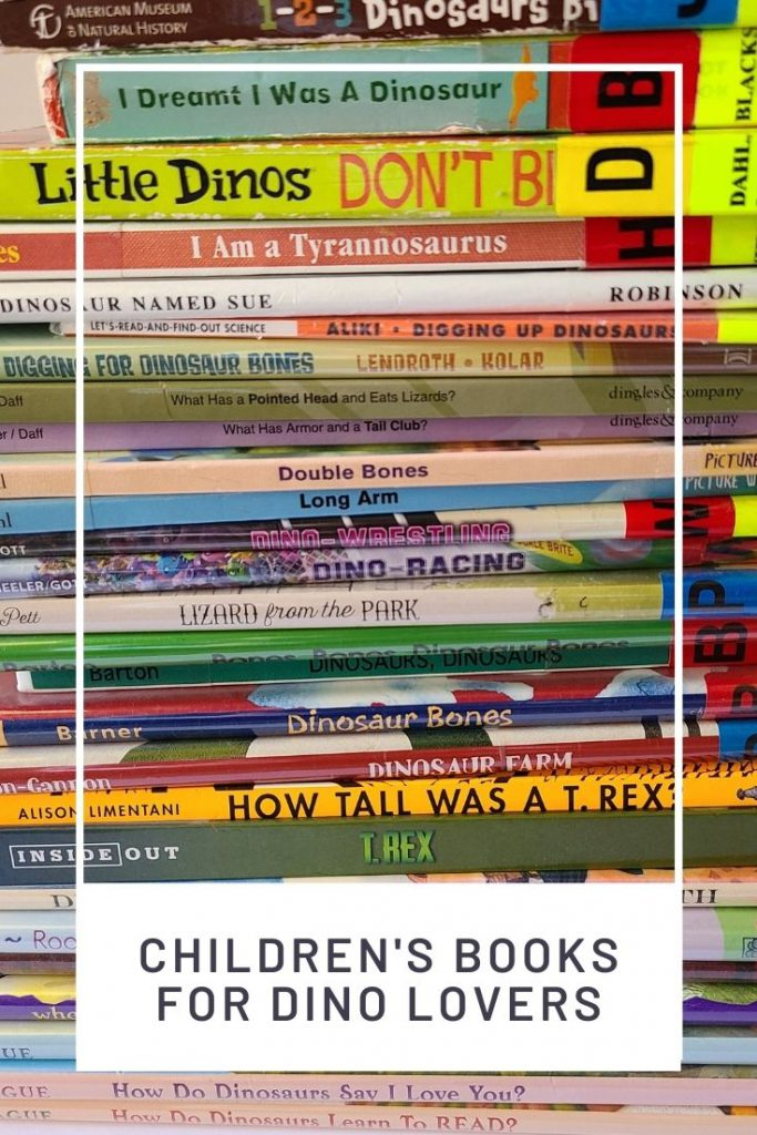 a stack of dino books with a graphic overlay