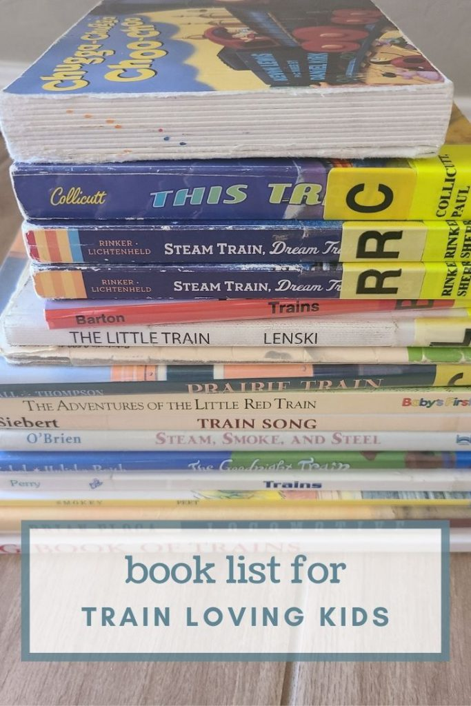 Stack of children's books about trains