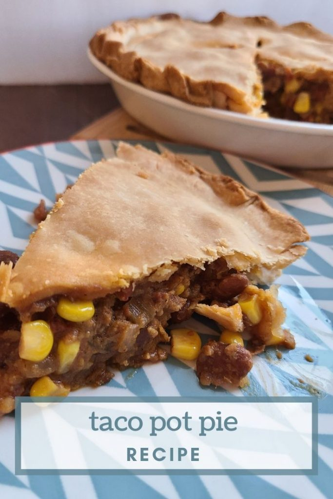 A slice of taco pot pie on a plate